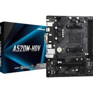 Mainboard ASROCK AMD A520 SAM4 MicroATX 1xPCI-Express 3.0 1x 1xPCI-Express 3.0 16x 1xM.2 Memory DDR4 Memory slots 2 1x15pin D-sub 1xDVI 1xHDMI 2xAudio-In 1xAudio-Out 2xUSB 2.0 4xUSB 3.2 1xPS/2 1xRJ45 A520M-HDV